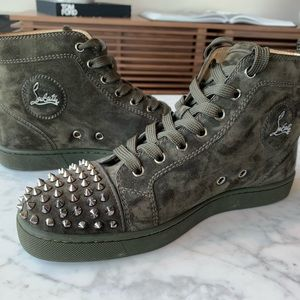 Christian Louboutin- Green Suede Hightop Spikes